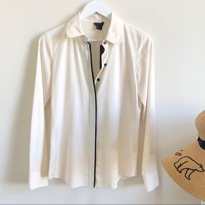 NEW Theory Keona cream button down silk blouse